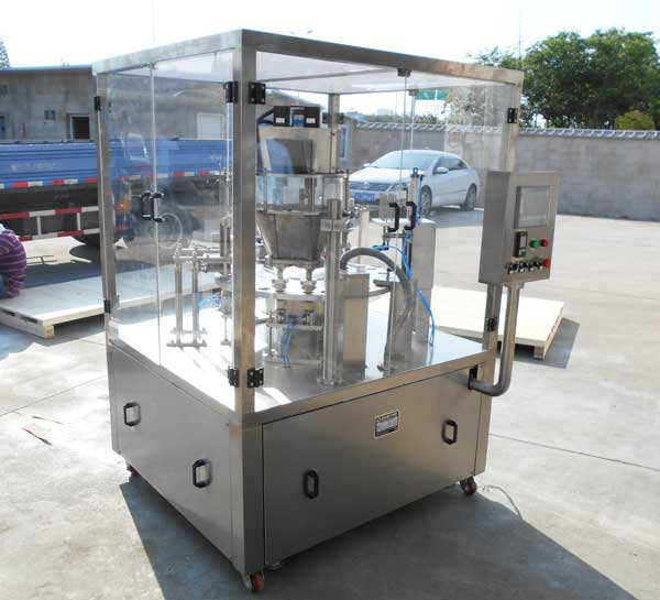 Double-Header-Coffee-Capsule-Rotary-Filling-and-Sealing-Machine