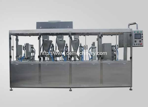 Linear-Type-Coffee-Capsule-Filling-Sealing-Machine-with-Glass-Cover
