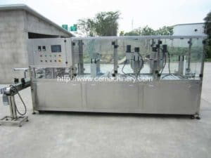 Linear Type Automatic Coffee Cup Filling Sealing Machine with Glass Cover
