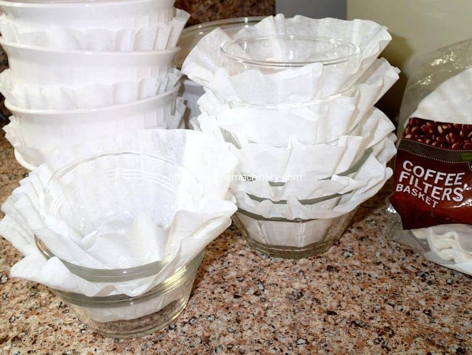 Coffee filters make packing dishes easier