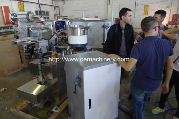 Russian Federation Customer Visit our Factory for Testing Nespresso Filling Sealing Machine