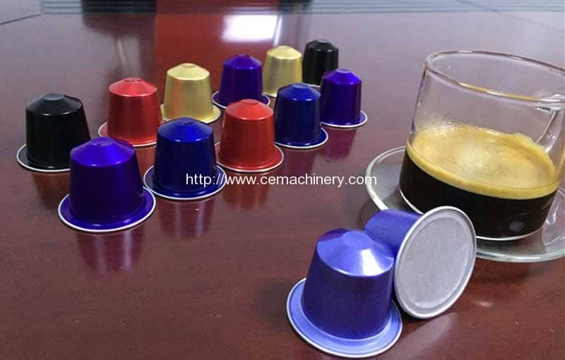 Automatic Cup Falling Aluminium-Nespresso-Capsules-Cup-Filling-Sealing-Machine