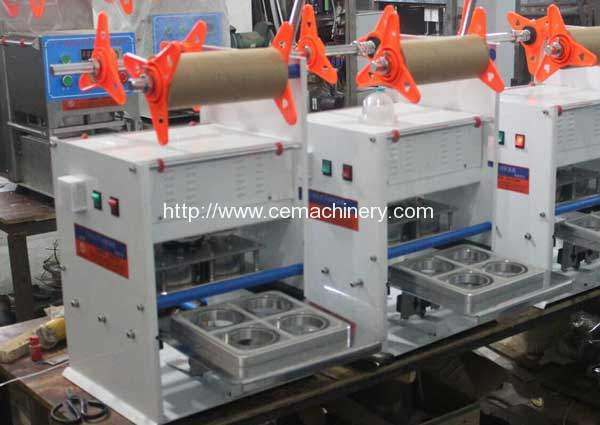 Roll Film Type Manual Lavazza Capsules Sealing Machine for France Customer