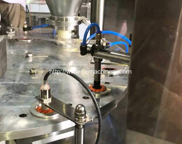 High-Speed-Rotary-Coffee-Capsules-Filling-Sealing-Machine-Aluminium-Lid-Putting-Device