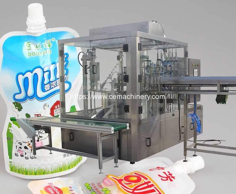 Automatic-Nozzle-Bag-Feeding-Liquid-Filling-Capping-Machine