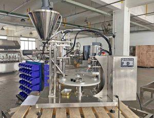 Plastic and Aluminum Nespresso Capsules Filling Sealing Machine for UK customers